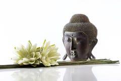 Cabeza de Buda en un fondo y un loto blancos Fotos de archivo