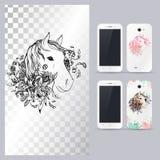 Cabeza de caballo animal blanco y negro Ejemplo del vector para la caja del teléfono Imagen de archivo libre de regalías