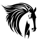 Cabeza de caballo con vector largo del negro de la melena Imagen de archivo