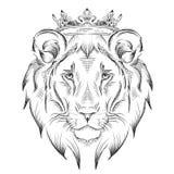 Cabeza de dibujo étnica de la mano del león que lleva una corona diseño del tótem/del tatuaje Uso para la impresión, carteles, ca Foto de archivo libre de regalías