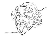 Cabeza de Einstein como la persona, lengua que se pega hacia fuera stock de ilustración