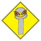 Cabeza de la avestruz con la muestra amarilla Imagenes de archivo
