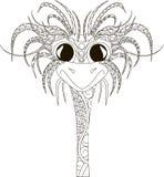 Cabeza de la avestruz de Zentangl, línea negra fina en blanco Fotografía de archivo