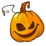 Cabeza de la calabaza de Halloween en blanco Gato asustadizo Ilustración del vector Foto de archivo