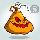 Cabeza de la calabaza de Halloween en blanco Gato asustadizo Ilustración del vector Imagenes de archivo