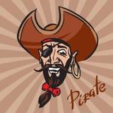 Cabeza de la historieta de Jolly Pirate en un sombrero ilustración del vector