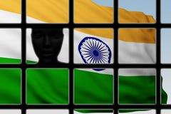 Cabeza de la silueta detrás de barras con la bandera de la India ilustración del vector