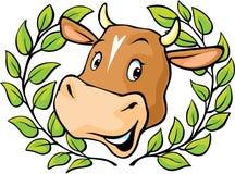 Cabeza de la vaca con adentro una guirnalda del laurel stock de ilustración
