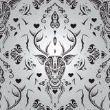 Cabeza de los ciervos Modelo inconsútil Fotografía de archivo libre de regalías