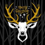 Cabeza de los ciervos Silueta blanca del vector de la cabeza del ciervo con las astas de oro stock de ilustración
