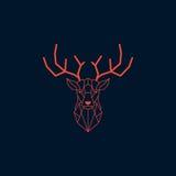 Cabeza de los ciervos y diseño poligonal de los cuernos Vector anaranjado del color con el fondo oscuro Fotografía de archivo libre de regalías