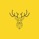 Cabeza de los ciervos y diseño poligonal de los cuernos Vector negro del color con el fondo amarillo Fotos de archivo