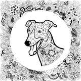 Cabeza de perro del galgo stock de ilustración