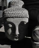 Cabeza de piedra de Buda con la cara serena en paisaje vago foto de archivo
