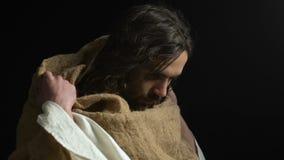 Cabeza de torneado de Jesus Christ a los lados, no haciendo ningún gesto, pecadores amonestadores, ahorrando almacen de metraje de vídeo