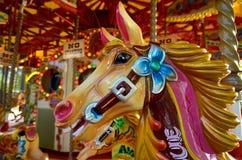 Cabeza de un caballo del vintage del paseo de la diversión en el coche del tiovivo Foto de archivo libre de regalías