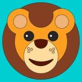 Cabeza de un león en estilo plano de la historieta libre illustration