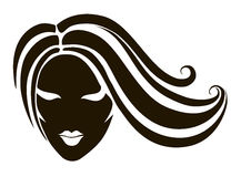 Cabeza de una muchacha con el pelo largo Foto de archivo
