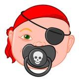 Cabeza del bebé con el pacificador del pirata stock de ilustración