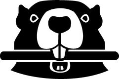 Cabeza del castor con madera libre illustration