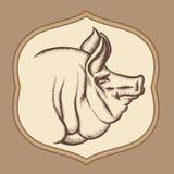 Cabeza del cerdo en estilo del vector del grabado libre illustration
