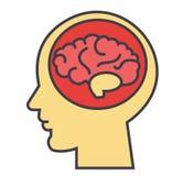 Cabeza del cerebro, intercambio de ideas, mente, concepto de la generación de la idea stock de ilustración