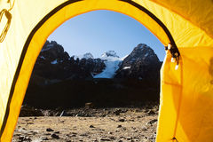 Cabeza del Condor mountains seen from basecamp from inside tent Stock Photos
