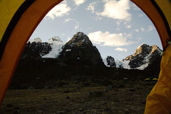 Cabeza del Condor mountains seen from basecamp inside tent Royalty Free Stock Photo