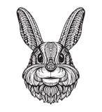 Cabeza del conejo o del conejito en el fondo blanco Dé el ejemplo exhausto del vector de un estilo étnico ilustración del vector