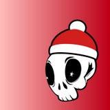 Cabeza del cráneo del vector con el sombrero rojo stock de ilustración