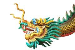cabeza del dragón y estatua del cuerpo aislada en el fondo blanco Imagen de archivo libre de regalías