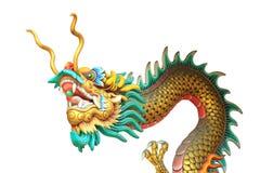 cabeza del dragón y estatua del cuerpo aislada en el fondo blanco Imagen de archivo