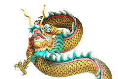 cabeza del dragón y estatua del cuerpo aislada en el fondo blanco Foto de archivo libre de regalías