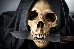 Cabeza del esqueleto de la muerte de Halloween Fotografía de archivo libre de regalías
