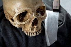 Cabeza del esqueleto de la muerte de Halloween Fotos de archivo libres de regalías
