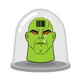 Cabeza del extranjero en el tarro de cristal para los experimentos Humanoid verde con Fotografía de archivo libre de regalías
