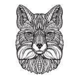 Cabeza del Fox Animal dibujado mano del bosquejo Ejemplo modelado étnico del vector Imagen de archivo libre de regalías