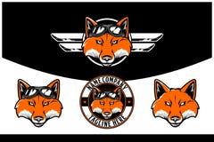 Cabeza del Fox con las gafas y la plantilla del logotipo del vector del ala ilustración del vector