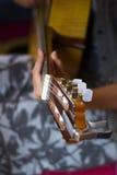 Cabeza del fretboard de la guitarra acústica y la mano de la muchacha en un fretboard foto de archivo