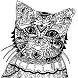Cabeza del gato con el vintage adornado stock de ilustración