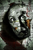 Cabeza del hombre en la pared Imágenes de archivo libres de regalías