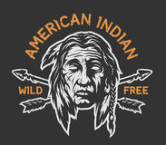 Cabeza del indio del nativo americano Foto de archivo libre de regalías