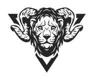 Cabeza del león con las astas Fotografía de archivo