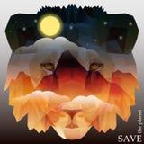 Cabeza del león con las montañas y el cielo nocturno con la luna, estrellas Foto de archivo libre de regalías