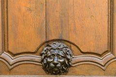 Cabeza del león del metal en puerta Foto de archivo libre de regalías
