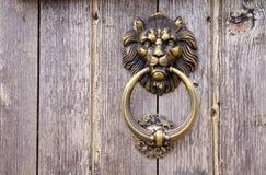 Cabeza del león, golpeador de puerta Foto de archivo libre de regalías