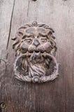 Cabeza del león, golpeador de puerta en puerta de madera vieja Imagen de archivo