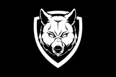Cabeza del lobo de la bestia con la plantilla blanco y negro del logotipo de la insignia del vector del escudo ilustración del vector