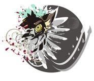 Cabeza del lobo, ojo del lobo, ala y círculo Foto de archivo