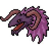 Cabeza del monstruo del arte del pixel del vector libre illustration